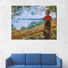 Tablou Canvas, Peisaj Fata Pe Lac - 20 x 25 cm
