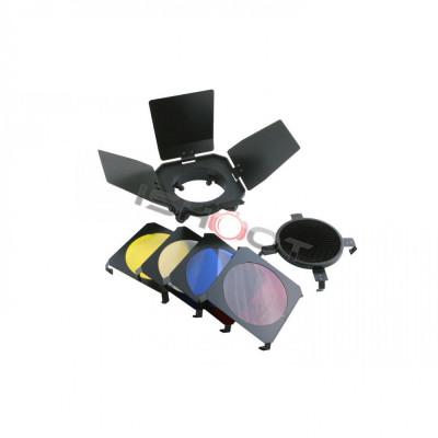 Barndoor Aputure BD-4S cu honeycomb si 4 filtre colorate pt blitz studio foto