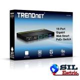Switch Web Smart w/16-port Gigabit 2 Shared Mini-GBIC Slots (16 PoE, 2SFP) Trendnet