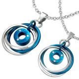 Pandantive din oțel - culoare albastru-argintiu, inele încurcate, zircon