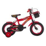 Bicicleta baieti cu roti ajutatoare Extreme Power, 12 inch, 2-5 ani, Negru/Rosu, General