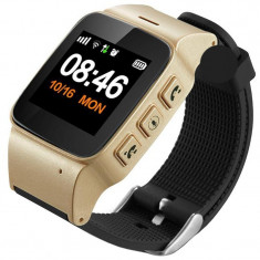 Ceas GPS Copii si Seniori iUni U100 Plus, Telefon incorporat, Display Color, Wi-fi, Buton SOS, Gold
