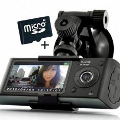 Camera Auto Dubla Cu GPS iUni Dash X3000 Plus, display 2.7 inch + Card 16GB Cadou