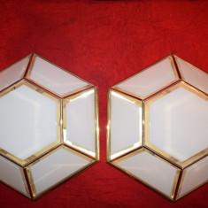 XXL Pereche  Plafoniere Lustre de tavan din alama si sticla fazetata 31 cm