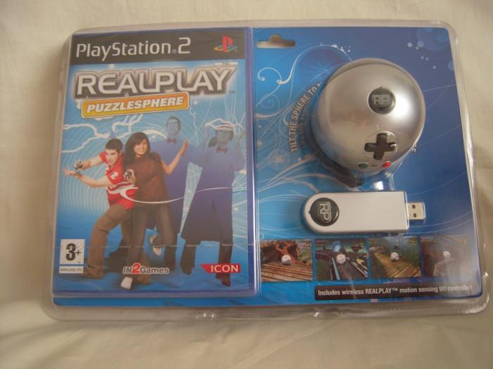 Vand joc Playstation 2 + stick RealPlay Puzzlesphere, raritate, sigilat!