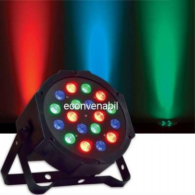 Proiector Lumini Par 18 LEDuri 1W RGB Intrare si Iesire DMX foto
