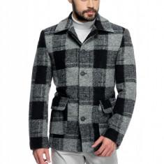 Palton Barbati Casual Scurt cu Carouri Gri si Negre B162 Lan24