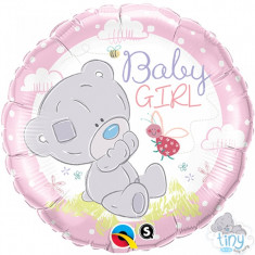 Balon botez Teddy Baby Girl din folie 43cm