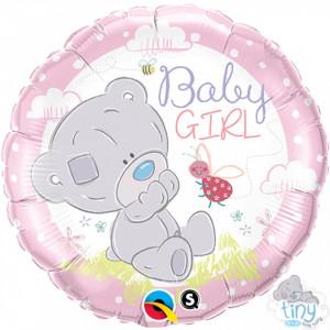 Balon botez Teddy Baby Girl din folie 43cm