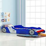 Cumpara ieftin Pat pentru copii mașină de curse 90 x 200 cm, albastru