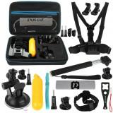Cumpara ieftin Kit 20+1 Accesorii PKT11 Puluz Pentru Camera Video Sport DJI Osmo Action, GoPro, Cutie Depozitare, Negru