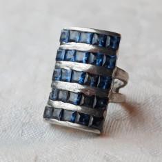 INEL argint SPLENDID cu pietre ALBASTRE de efect VECHI vintage ELEGANT