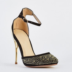 NOU Pantofi dama negri cu strasuri / toc stiletto auriu metalic 36