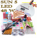 Kit unghii false cu 12 gel color set manichiura lampa uv LED 48 W