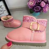 Cumpara ieftin Cizme roz imblanite cu sclipici si catarama pt fete copii bebe 22