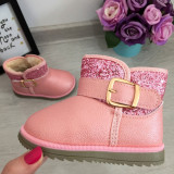 Cizme roz imblanite cu sclipici si catarama pt fete copii bebe 22