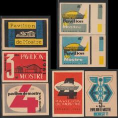 Pavilionul de Mostre - Set 7 etichete chibrituri romanesti, RSR anii 1960-1971