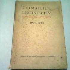 CONSILIUL LEGISLATIV ZECE ANI DE ACTIVITATE,1926-1936