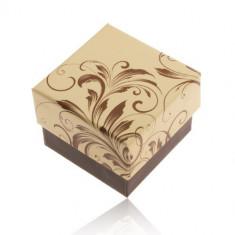 Cutiuță de cadou pentru inel - motiv frunze agățătoare, combinație galben cu maro