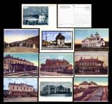Gari din Romania - Set 10 carti postale ilustrate CFR reproduceri dupa originale