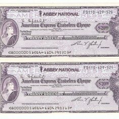 CEC calatorie  20 $  AMERICAN EXPRRSS - 2 bucati serii consecutive.