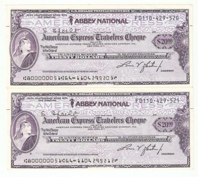 CEC calatorie  20 $  AMERICAN EXPRRSS - 2 bucati serii consecutive. foto