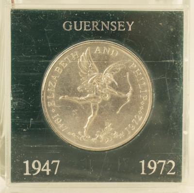 25 pence, 1972 Guernsey UNC/ necirculata - comemorativa, tiraj mic 56000 piese foto