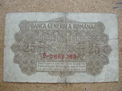 ROMANIA - 25 BANI 1917 BGR , B1.5 foto