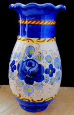 Vaza veche Tupesy Moravia.Flori de cobalt.Vintage.H 21cm/542gr. foto