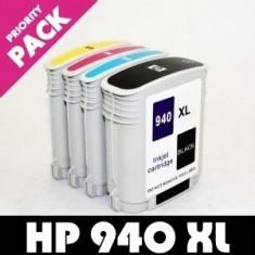 Pachet Cartus HP 940XL NEGRU + ROSU + GALBEN + ALBASTRU ( Cartuse HP940XL HP940...