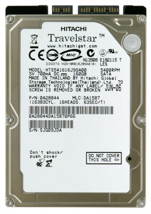 hdd Hard Disk laptop HGST Travelstar 5K160 HTS541616J9SA00  160 GB - SATA