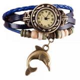 Cumpara ieftin Ceas de dama, pandant delfin - albastru
