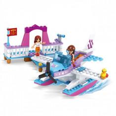 Set cuburi Lego, actual investing, model avion si ponton, 161 piese