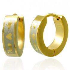 Cercei aurii din oțel - picior, inimă, mână