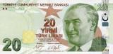 TURCIA █ bancnota █ 20 Lira █ 2009 █ P-224c █ UNC █ necirculata