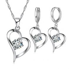 Set bijuterii: cercei + lantisor, placate cu argint 925