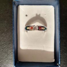 Inel argint placat 925 - Curcubeu/Rainbow - Stantat/Cutie/Piatra pretioasa