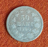 Moneda din argint 50 Bani 1900 Regele Carol - avers foarte frumos
