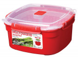 Cutie alimente din plastic cu steamer pentru microunde Sistema 2.4L