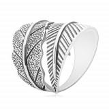 Cumpara ieftin Inel din argint 925, frunză curbată mare, patină gri - Marime inel: 62