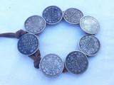 BRATARA argint RUSIA din COPEICI ani diferiti pe SNUR PIELE splendida MASIVA