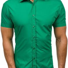 Cămașă elegantă cu mâneca scurtă pentru bărbat verde Bolf 7501