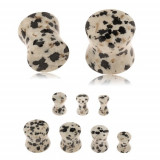 Plug de ureche din jasp dalmațian, nuanță gri-maro, pete negre și maro - Lățime: 5 mm