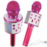 Microfon Bluetooth 4.0 Wireless pentru Karaoke cu Difuzor Incoroprat, cardSD, AUX, 1200 mAh, Roz