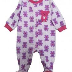 Salopeta / Pijama bebe cu ursuleti Z13, 1-2 ani, 1-3 luni, 3-6 luni, 6-9 luni, 9-12 luni, Mov