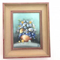 Tablou ,pictura veche franceza,ulei pe panza,vaza cu flori, Altul