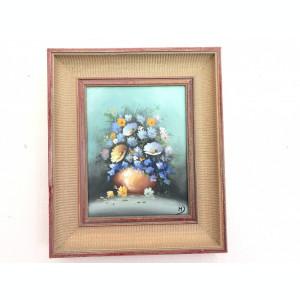 Tablou ,pictura veche franceza,ulei pe panza,vaza cu flori