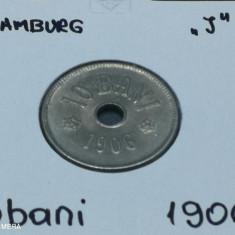Romania 10 bani 1906 Hamburg J in cartonas