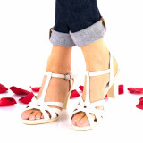 Sandale dama crem din piele naturala si piele naturala lacuita toc 7cm - NA113C