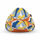 Cumpara ieftin Fotoliu Units Puf (Bean Bag) tip para, impermeabil, cu maner, 80 x 90 x 68 cm, abstract retro